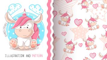 Cute teddy unicorn - seamless pattern