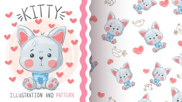 Cute cat fox - seamless pattern