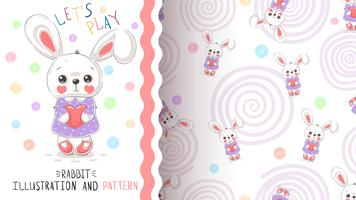 Rabbit with heart - seamless pattern