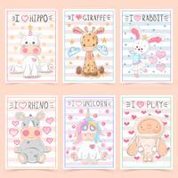 Set animals - crtoon a4 template