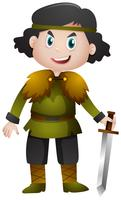Cavaleiro segurando a espada afiada