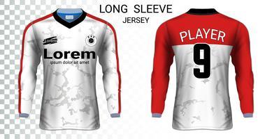 Camisas de futebol de manga comprida camisetas modelo de maquete, Design gráfico para uniformes de futebol.