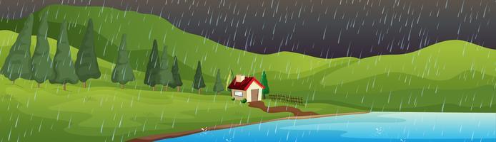 Scena di sfondo con casa sul lago sotto la pioggia