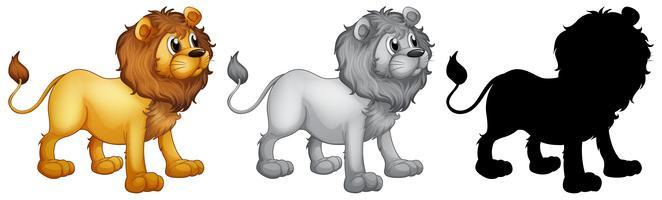 Serie di disegni di personaggi di leone