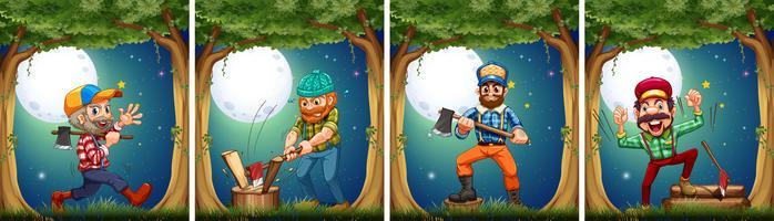 Lumbers cortando maderas en la noche