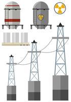 Conjunto de energia com tanque de combustível e fios de eletricidade