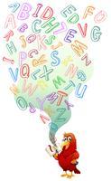Papegoja läser engelsk bok