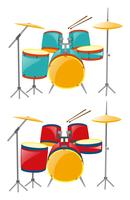 Two sets of drumset in blue and red