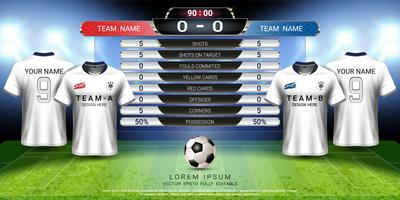Football cup template for sport event, Soccer jersey mock-up and scoreboard match, global strategy broadcast graphic template.