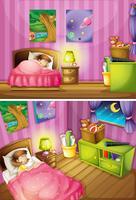 Dos escenas de niña en dormitorio.