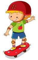 Kleiner Junge auf rotem Skateboard