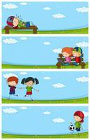 Cuatro escenas del parque con niños felices.