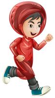 Boy in red raincoat running