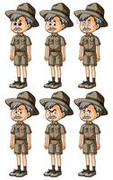 Man in safari outfit with different emotions