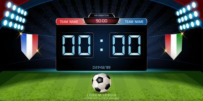 Digital timing scoreboard, Football match with the flag, Strategy broadcast graphic template.