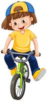 A Kid Riding Bicycle on White Background