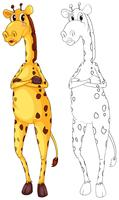 Animal outline for tall giraffe vector