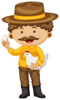 Farmer holding chicken and egg
