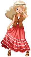 Menina hippie na saia vermelha