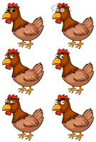 Brown chicken with different emotions