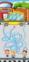 Jogo de labirinto com estudantes e ônibus escolar
