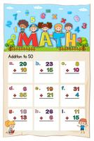 Math worksheet template for addition to fifty