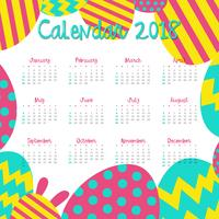 Calendar template for 2018 with colorful eggs vector