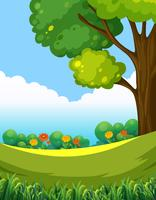 A beautiful green nature landscape vector