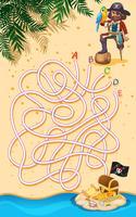 Ein Pirat, der Schatzlabyrinthspiel findet