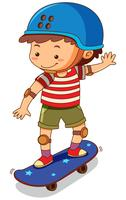 Liten pojke som spelar skateboard