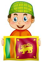 Happy boy and flag of Srilanka