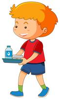 Little boy with food on tray