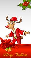 Christmas card template with reindeer in santa outfit