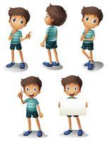 Een jonge jongen in verschillende posities