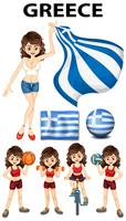 Greece flag and woman athlete