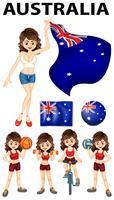 Australien flagga och många sporter