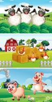 Farm animals living in the farmyard