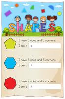 Math worksheet for different shapes