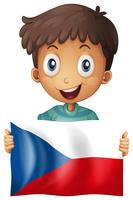 Happy boy and flag of Czech Republic
