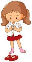 Bambina che ottiene vestito su priorità bassa bianca