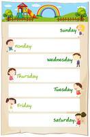 Dias da semana cartaz com crianças felizes