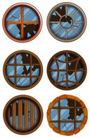 Round windows with broken glass vector