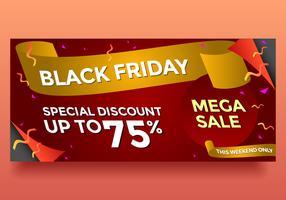 Black Friday Mega Sale Banner Vector