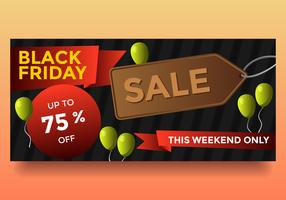 Balloon Black Friday Sale Banner Vector