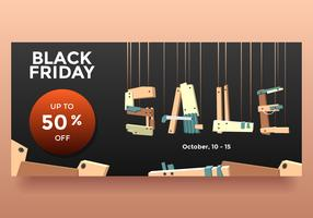 Black Friday October Sale Wood Style Banner Vector