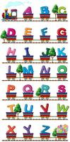 Train porte alphabets anglais