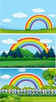 Three park scenes with rainbow