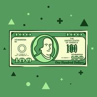 Tecknade Hand Drawn 100 Dollar Bill Illustration