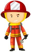 Fire fighter in safety uniform