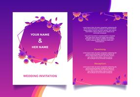 Blom- bröllopsinbjudningskort vektor